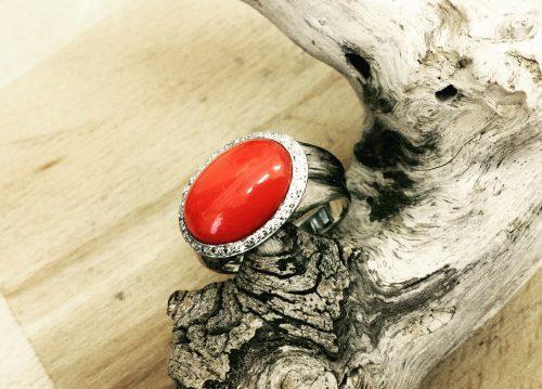 Anello Corallo Rosso Brillante